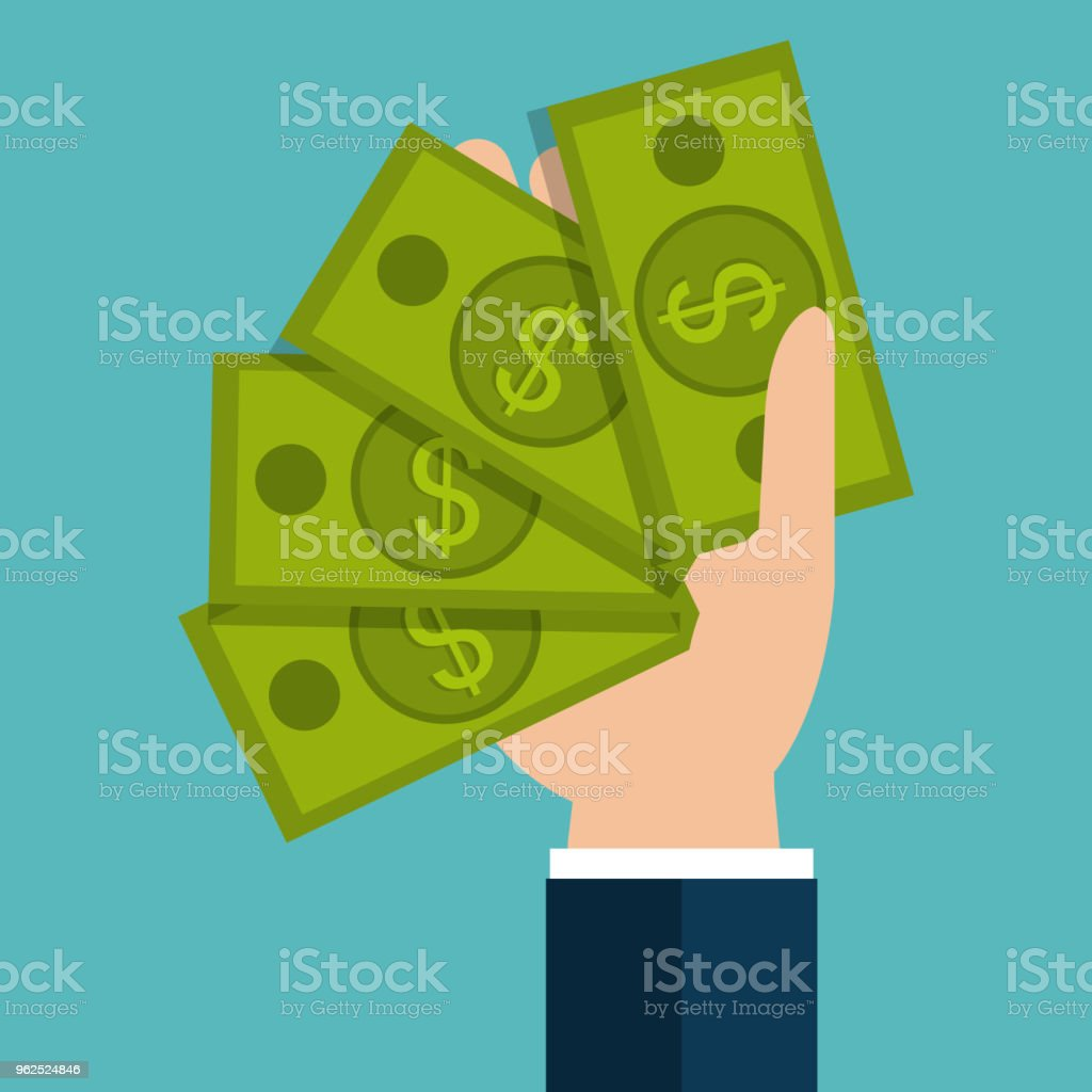 hand with bills dollar money icon - Royalty-free Abundance stock vector
