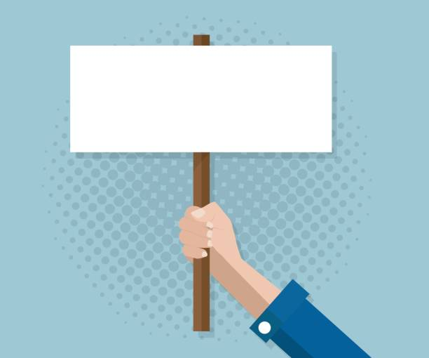 hand with blank sign banner vector art illustration