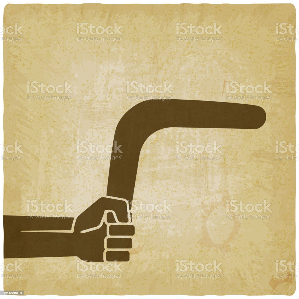 hand with boomerang old background vector art illustration