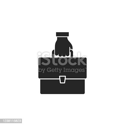 Hand with briefcase icon, vector isolated flat design simple symbol.