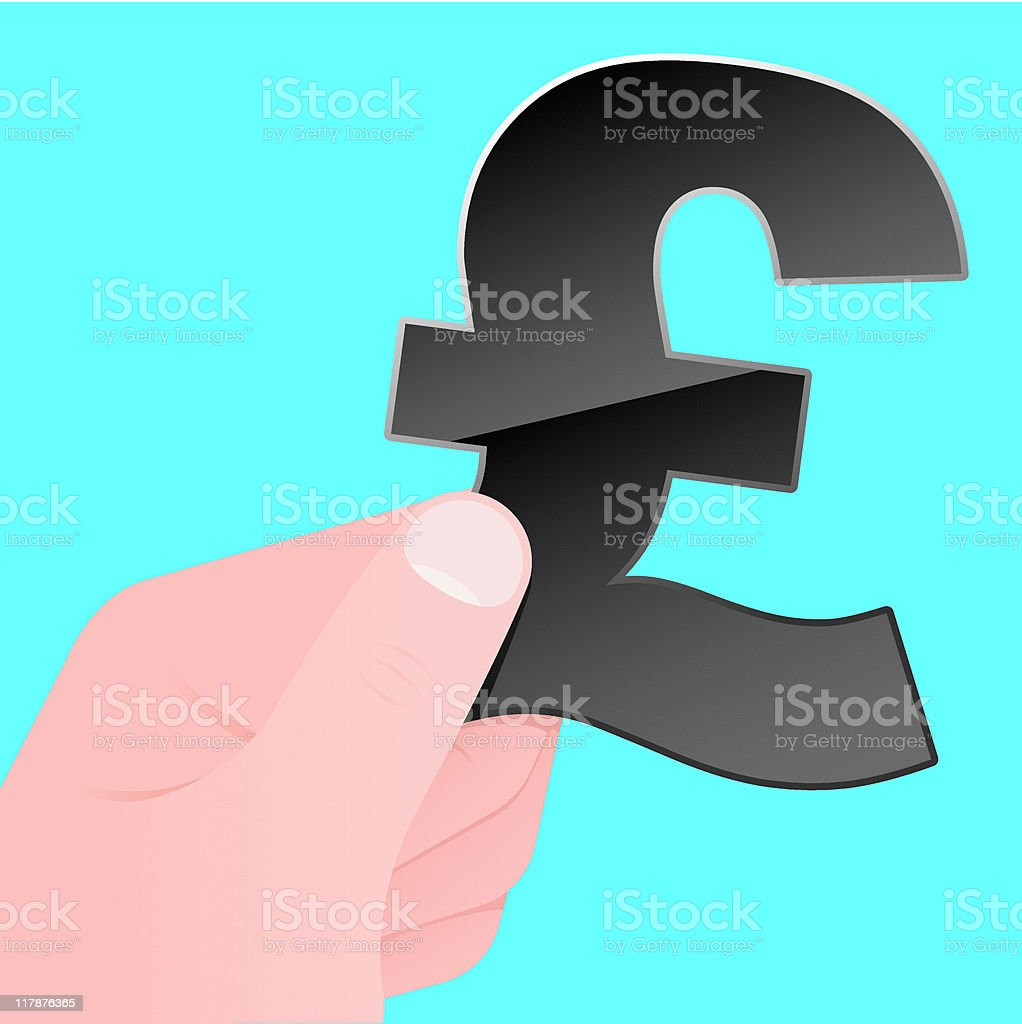 Hand with british pound symbol royalty-free stock vector art