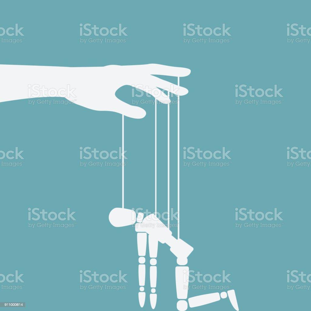 hand with broken puppet - Grafika wektorowa royalty-free (Autorytet)