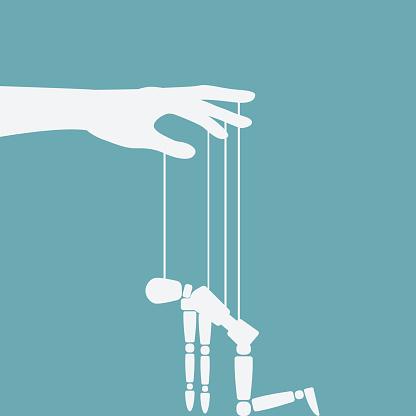 Hand With Broken Puppet - Stockowe grafiki wektorowe i więcej obrazów Autorytet