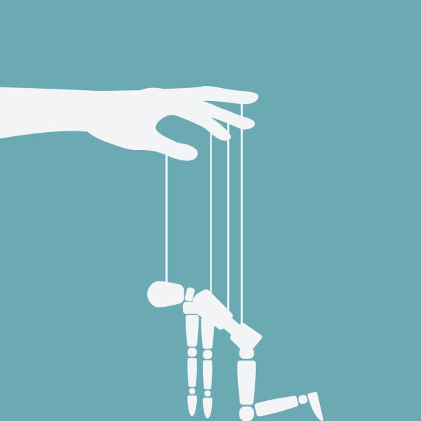 hand with broken puppet - kukiełka stock illustrations