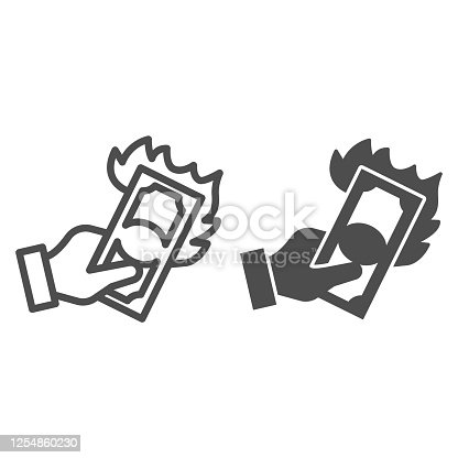 istock Hand with burning dollar line and solid icon, waste of money concept, Dollar in fire sign on white background, Money with flame in hand icon in outline style for mobile, web design. Vector graphics. 1254860230