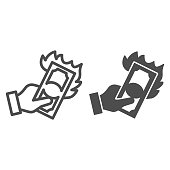 Hand with burning dollar line and solid icon, waste of money concept, Dollar in fire sign on white background, Money with flame in hand icon in outline style for mobile, web design. Vector graphics