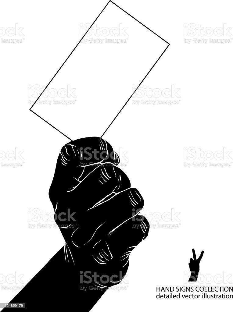Main Avec Carte De Visite Detaillee Illustration Noir Et Blanc