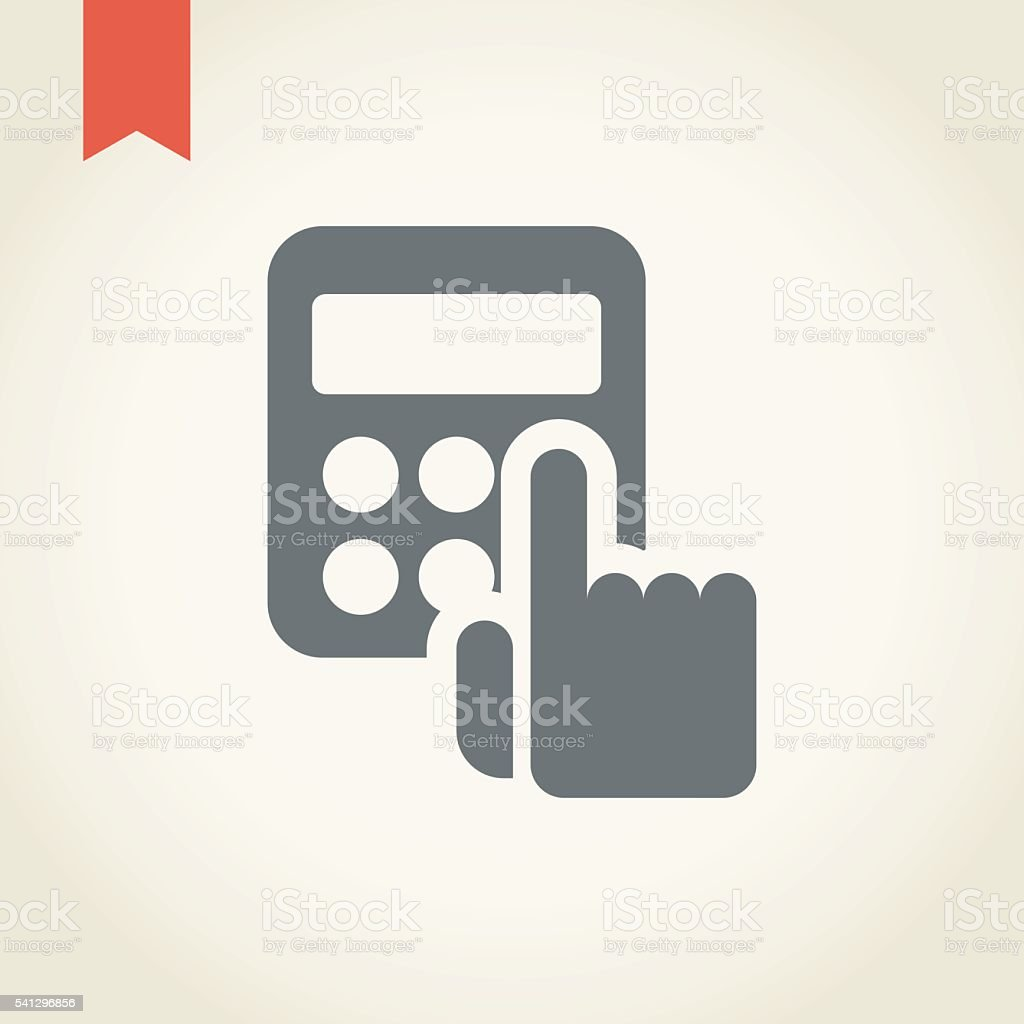 Hand with calculator icon vector art illustration