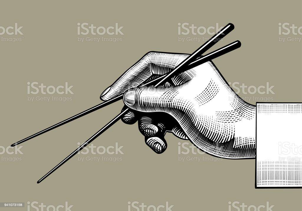 Mano con de palillos chinos - ilustración de arte vectorial