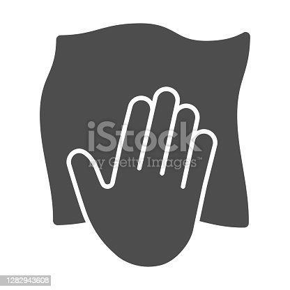 istock Hand with cleaning napkin solid icon, Cleaning service concept, surface wiping with absorbent tissue sign on white background, Windows cleaning cloth icon in glyph style. Vector graphics. 1282943608