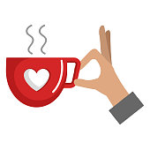 hand with coffee cup with heart