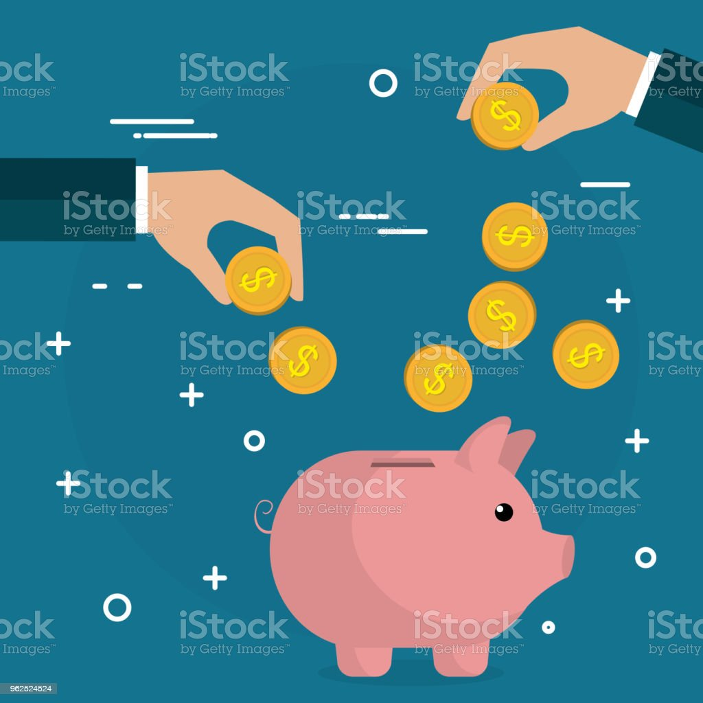 hand with coins and piggy savings - Royalty-free Bank - Financial Building stock vector