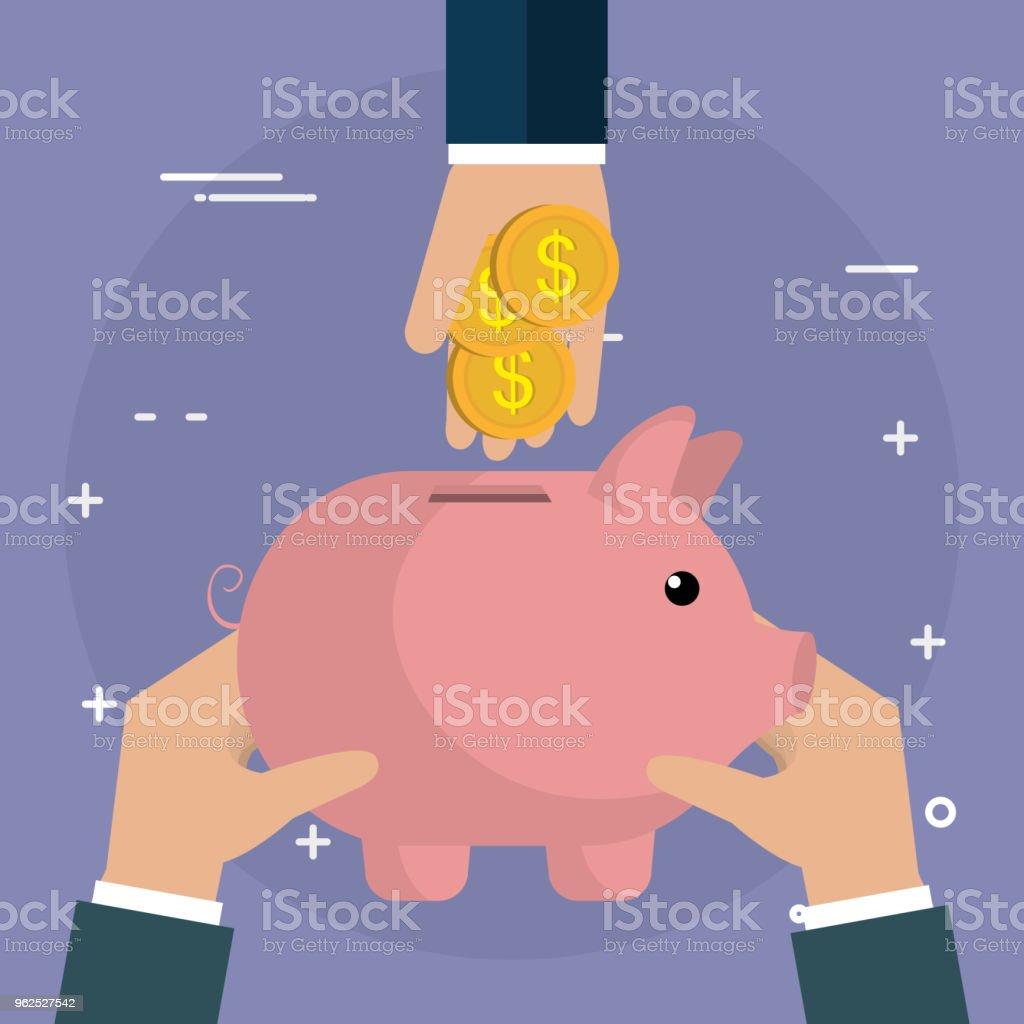 mão com moedas e poupança porquinha - Vetor de Banco - Edifício financeiro royalty-free