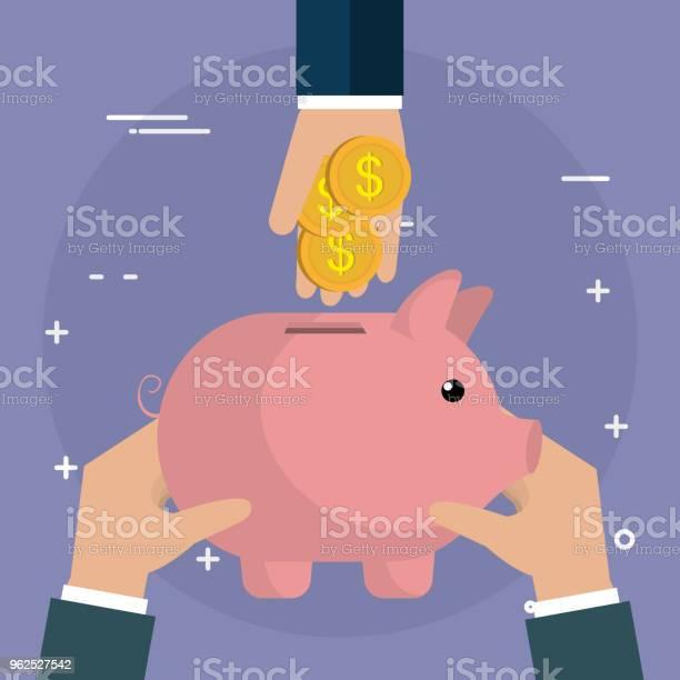 Vetores de Mão Com Moedas E Poupança Porquinha e mais imagens de Banco - Edifício financeiro