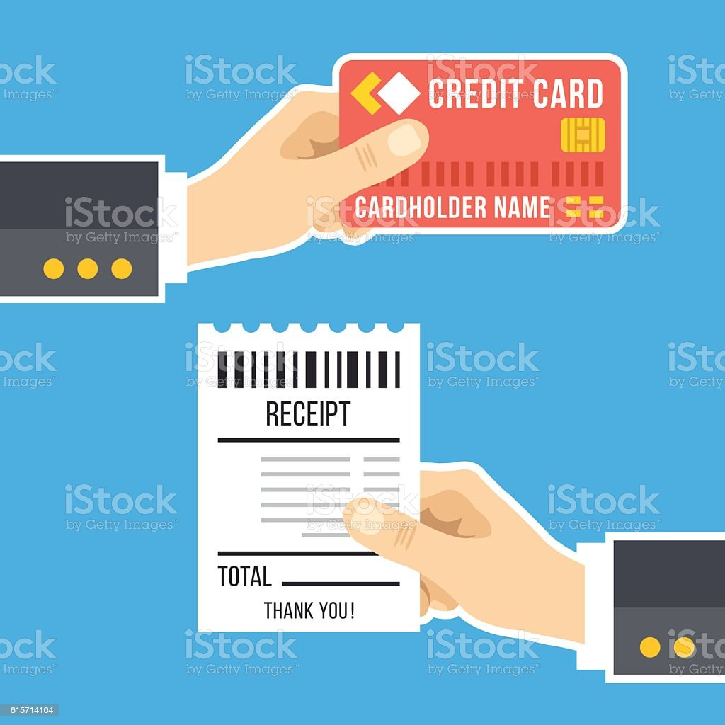 Hand With Credit Card Hand With Receipt Pay Bills Payment