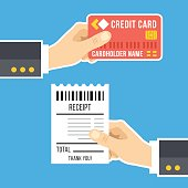 Hand with credit card, hand with receipt. Pay bills, payment