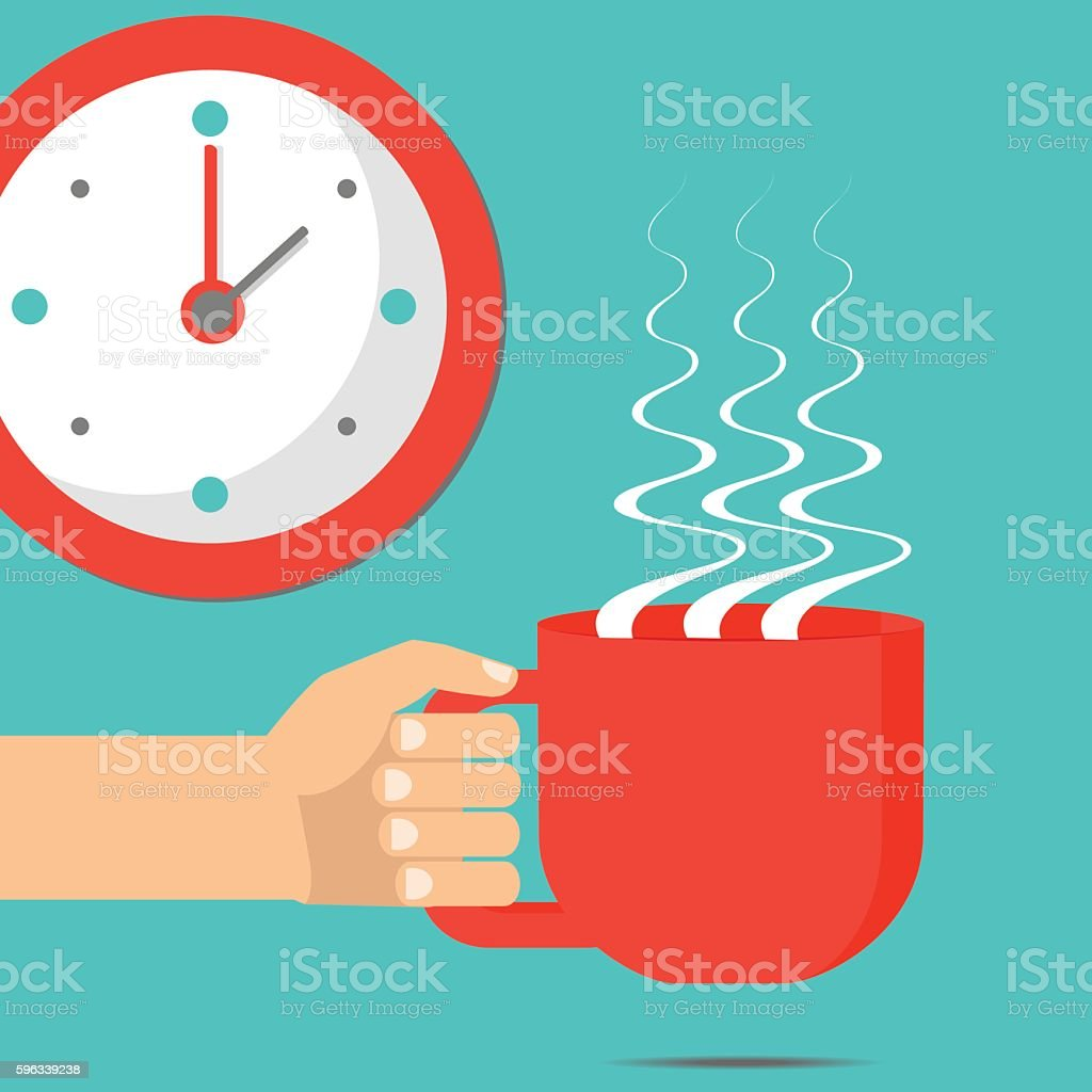 Hand with cup or coffee or tea. Vector flat illustration. royalty-free hand with cup or coffee or tea vector flat illustration stock vector art & more images of adult