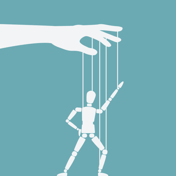 hand with dancing puppet - marionetka stock illustrations