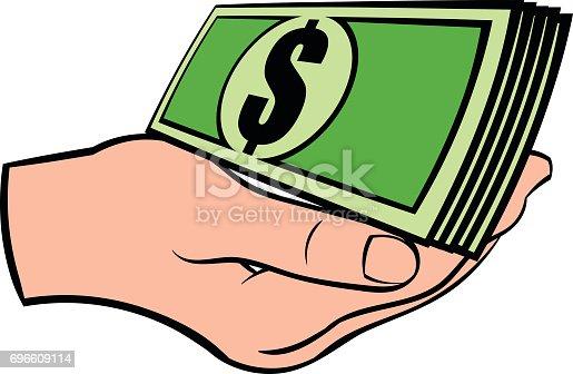 Mano Con Dólares Billetes Icono De Dibujos Animados
