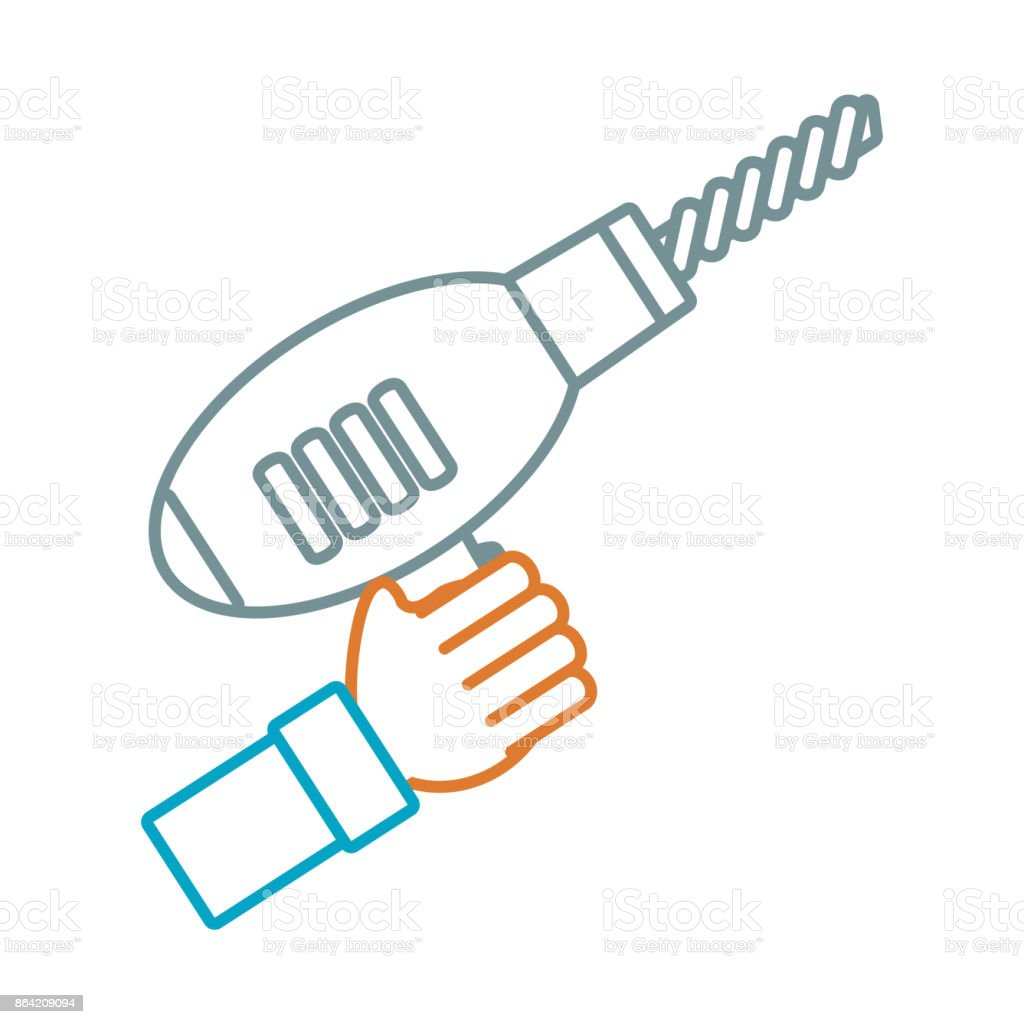 hand  with drill vector  illustrati royalty-free hand with drill vector illustrati stock vector art & more images of arm