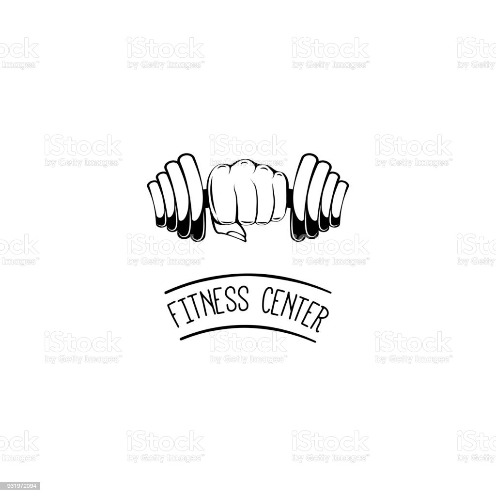 Hand with dumbbell. Fitness center icon label symbol. Vector illustration. vector art illustration
