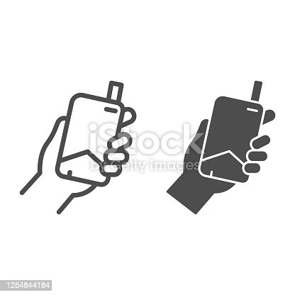 istock Hand with electronic cigarette line and solid icon, Smoking concept, E cigarette in hand sign on white background, Smoking device in hand icon in outline style for mobile and web. Vector graphics. 1254844184