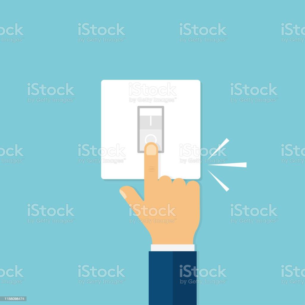 Hand med fingret trycka switch med klick ljud. Lyser av eller på. Elektrisk knapp. Hem ljus. - Royaltyfri Antända vektorgrafik