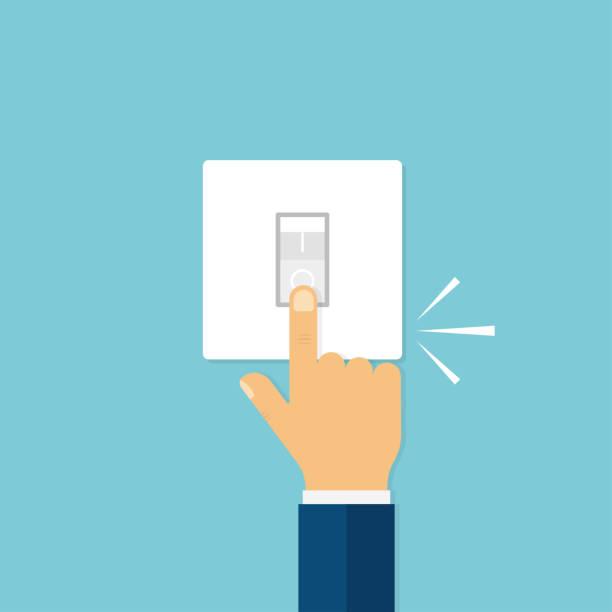 ilustraciones, imágenes clip art, dibujos animados e iconos de stock de mano con interruptor de empuje del dedo con el sonido del clic. apague o encienda la luz. botón eléctrico. luz de inicio. - interruptor