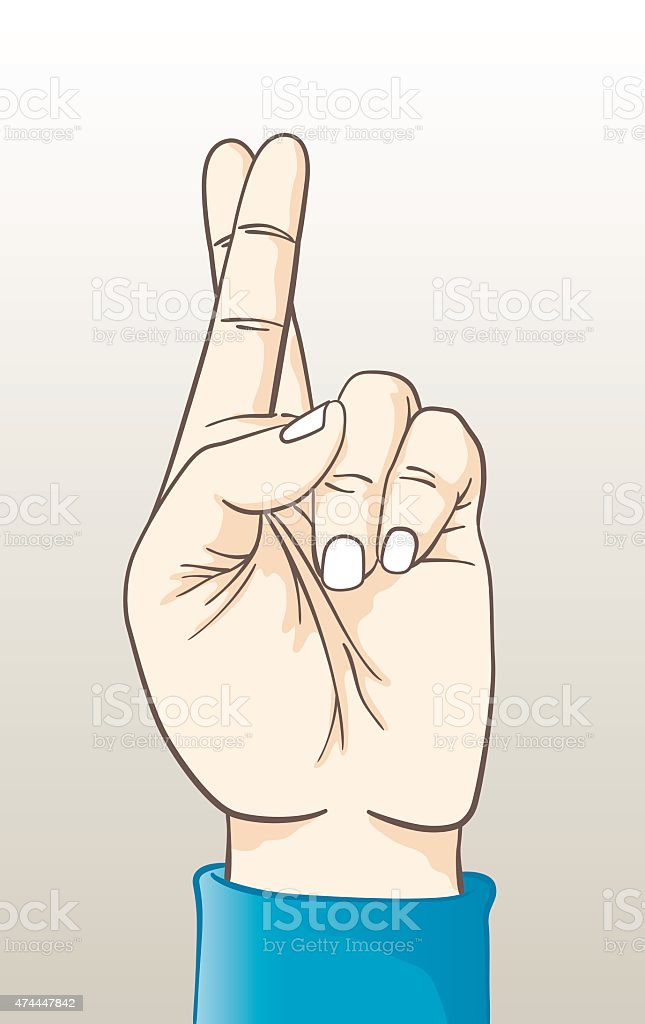 Hand with Fingers Crossed vector art illustration