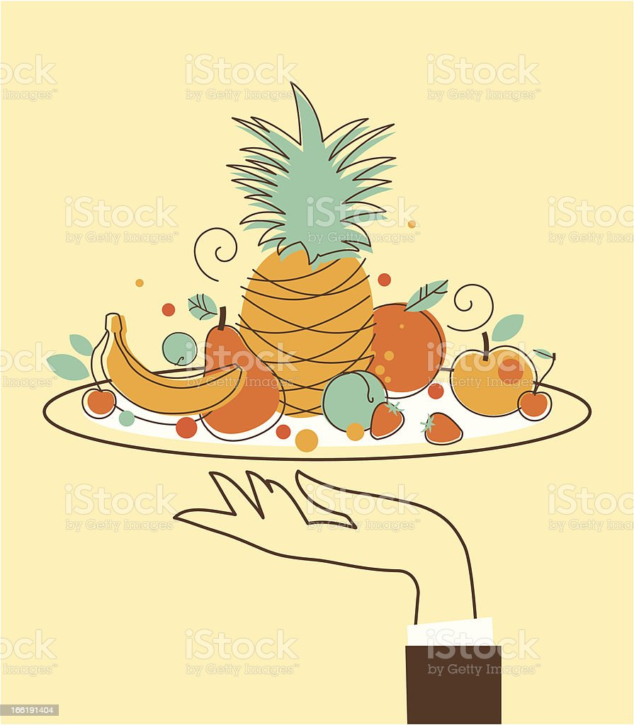 Hand with food tray royalty-free stock vector art