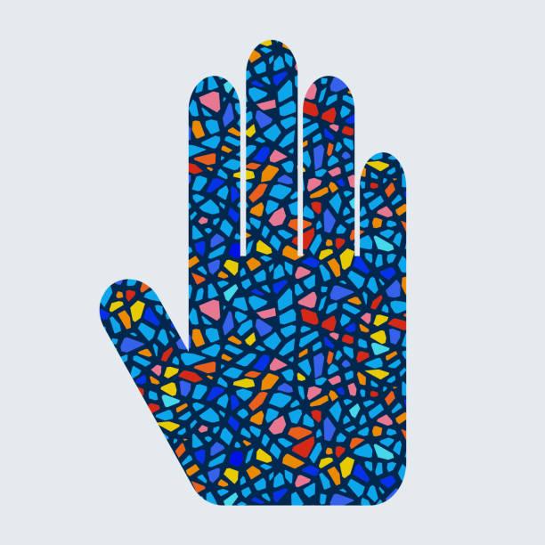 hand mit geometrischem muster - kieselmosaik stock-grafiken, -clipart, -cartoons und -symbole