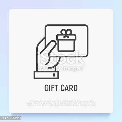 istock Hand with gift card. Certificate for purchase, discount, coupon. Thin line icon. Modern vector illustration of present for Christmas, Valentine day or birthday. 1171120229