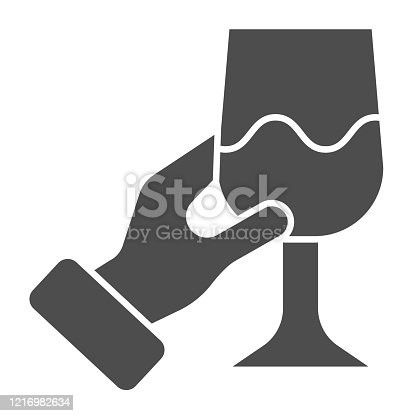 Hand with glass of wine solid icon. Holding wineglass and tasting glyph style pictogram on white background. Gourmet or wine connoisseur arm for mobile concept and web design. Vector graphics