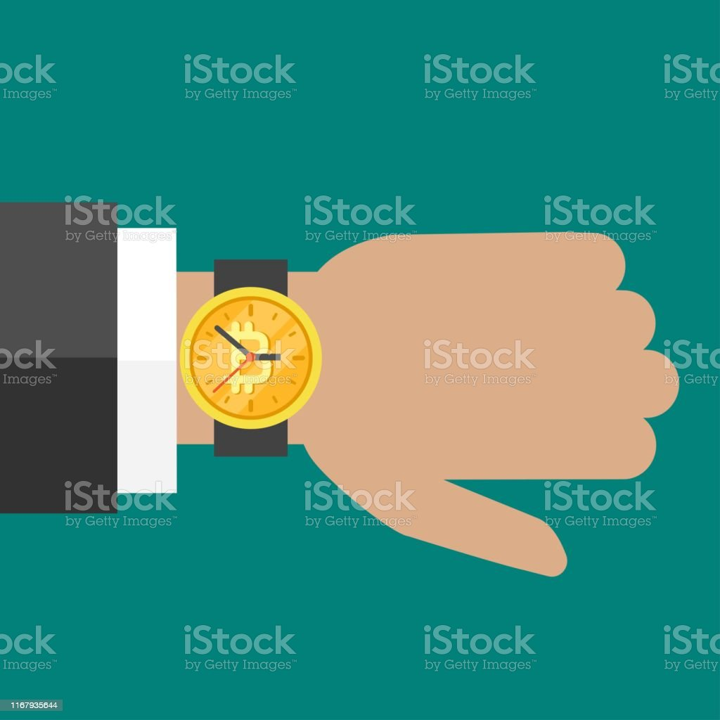 Hand with golden hand watch on wrist with bitcoin sign on turquoise...