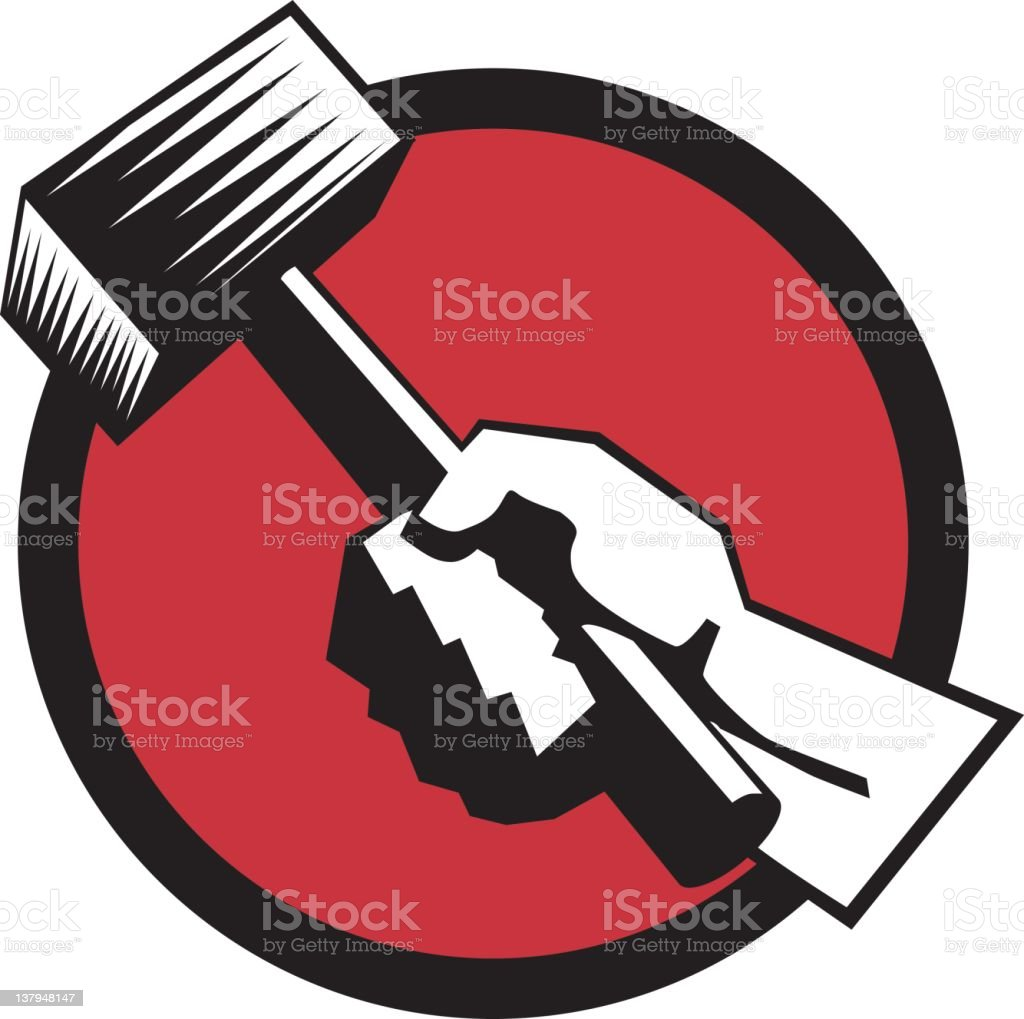 Hand with Hammer royalty-free stock vector art