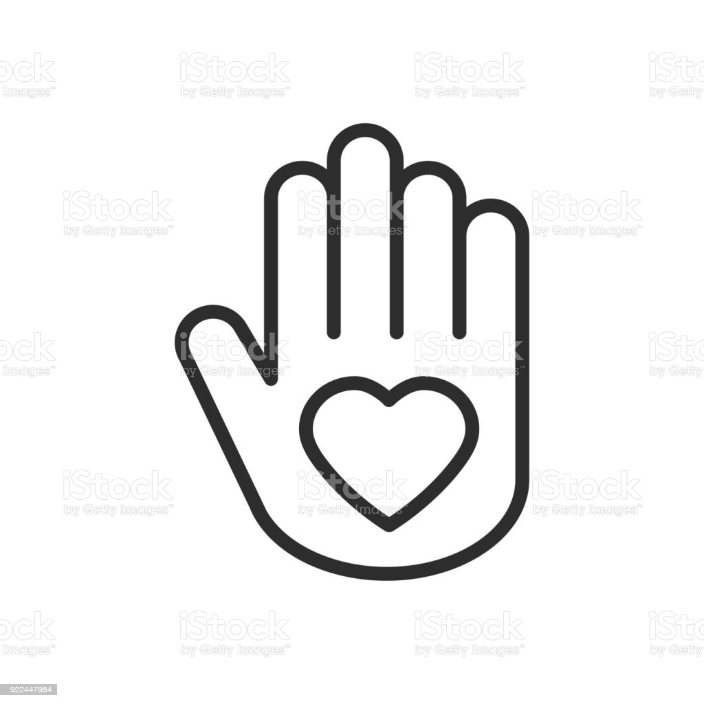 Hand With Heart Line Icon Love Relationship Peace Charity Volunteer