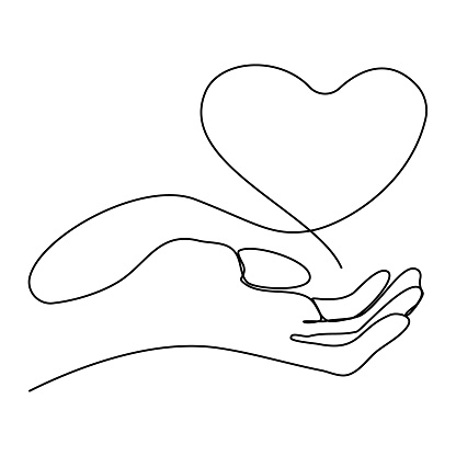Hand with Heart one line. Continuous drawing of one editable line. Valentine's card, Valentine's Day, wedding, romantic concept. Abstract  Vector illustration.