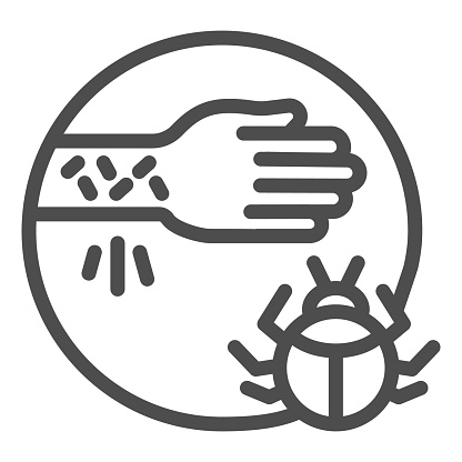 Hand with irritate skin and beetle line icon, Allergy symptoms concept, Allergy to beetles sign on white background, mite or bug insect allergen icon in outline style. Vector graphics.