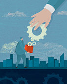 Hand with large gear and business man with container. Investment growth profit sharing revenue business. Banking, lawyer, investing, financial advisor, in business, business man, entrepreneur, Financial and business, money, wealth, gears, cloudy sky. Big Business, money making. See my portfolio for similar business concepts. Illustrator eps 10 file and high resolution jpg.