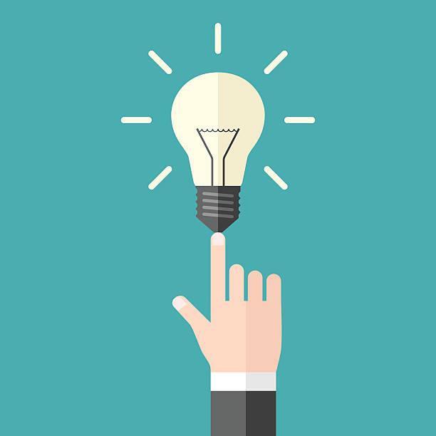Hand mit Glühbirne – Vektorgrafik