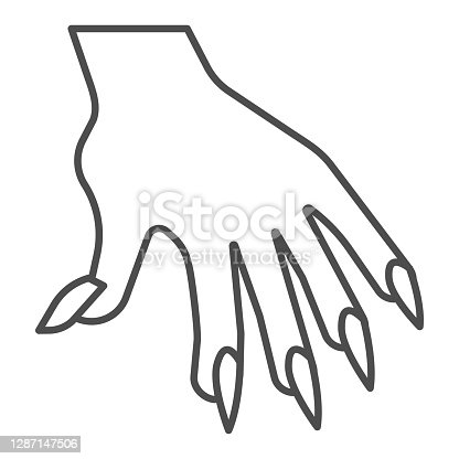 istock Hand with long nails thin line icon, halloween concept, witch fingers sign on white background, woman arm icon in outline style for mobile concept and web design. Vector graphics. 1287147506