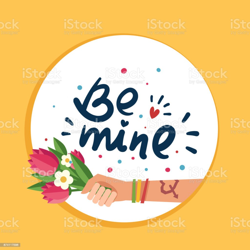 Hand with Love tattoo, Hand drawn lettering 'Be mine' vector art illustration
