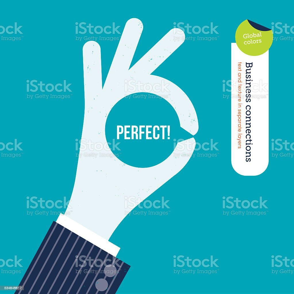 OK hand with message symbol and the word perfect inside vector art illustration