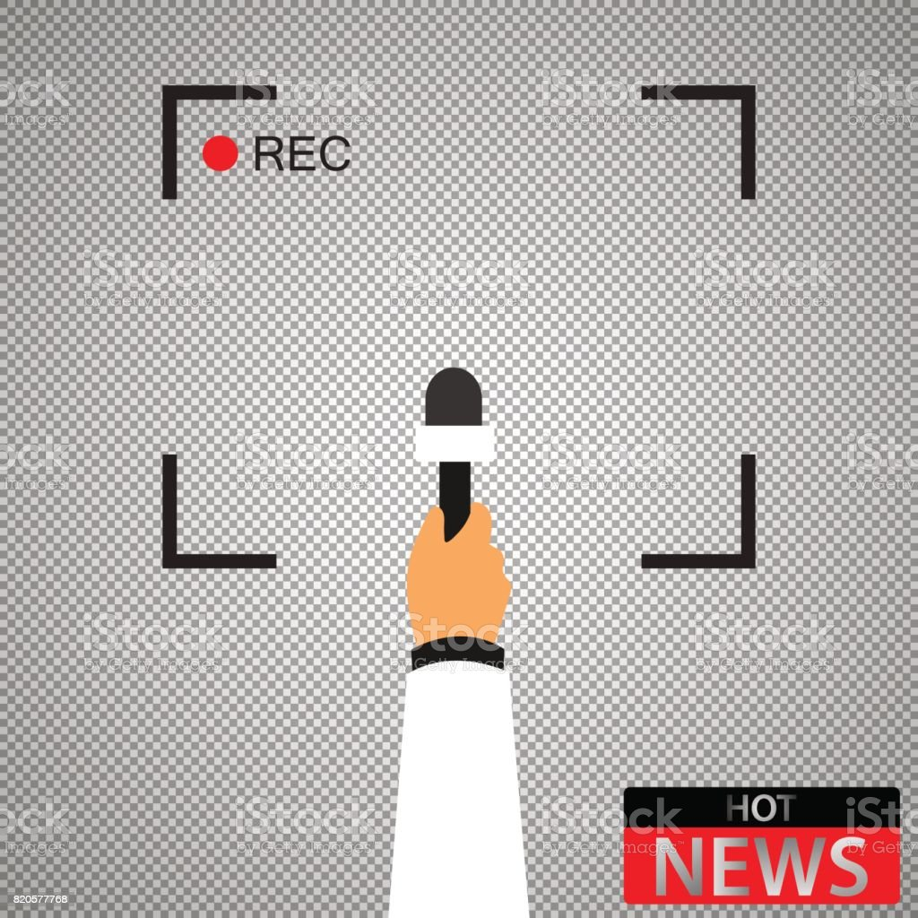 Hand with microphone. Recording frame. Hot news. Checkered background vector art illustration