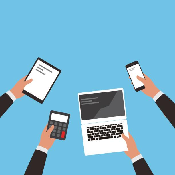 ręka z telefonu komórkowego i komputera i ipad - ipad stock illustrations