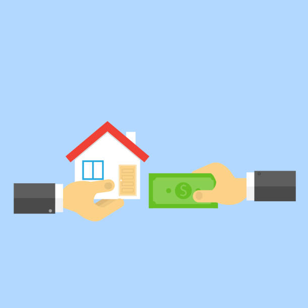 Hand with money and hand with house. vector art illustration
