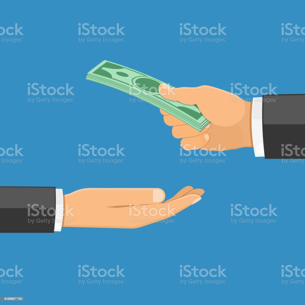 Hand with Money vector art illustration
