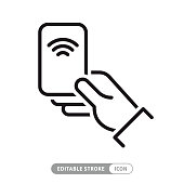 istock Hand with NFC Payment Credit Card Icon. Vector stock illustration 1225609091