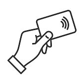 Hand with NFC Payment Credit Card Icon. Vector