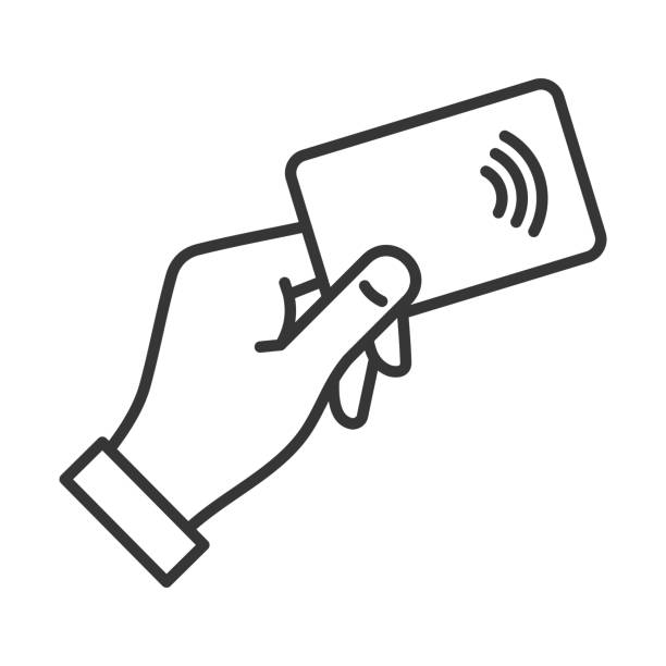 hand with nfc payment credit card icon. vector - płacić stock illustrations